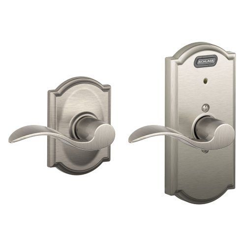 Schlage FE10 ACC 619 CAM Built-in Alarm, Camelot Collection Accent Hall and Closet Lever Door Lock, Satin Nickel Schlage Lock Company