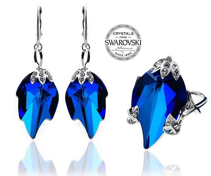 Przepiękny komplet: kolczyki i pierścionek z oryginalnymi kryształami Swarovskiego: Blue Leaf. Zobaczcie: http://arande.pl/store/pl/p/KOMPLET-SWAROVSKI-BLUE-LEAF-SREBRO/4574