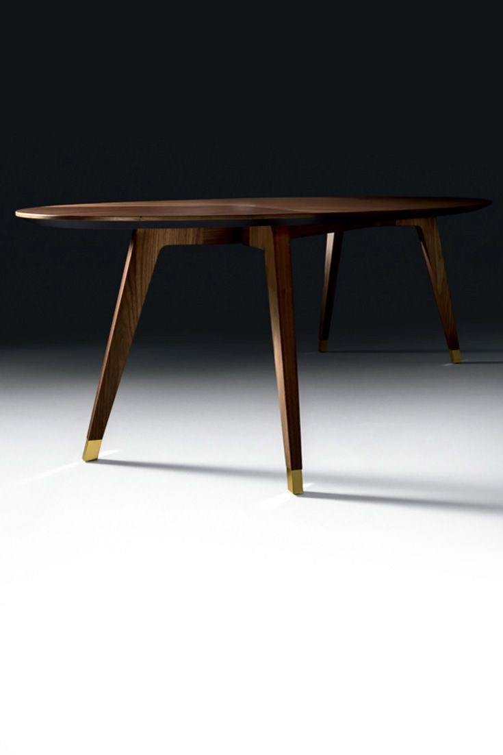 Contemporary Oval Walnut Italian Designer Dining Table Italian