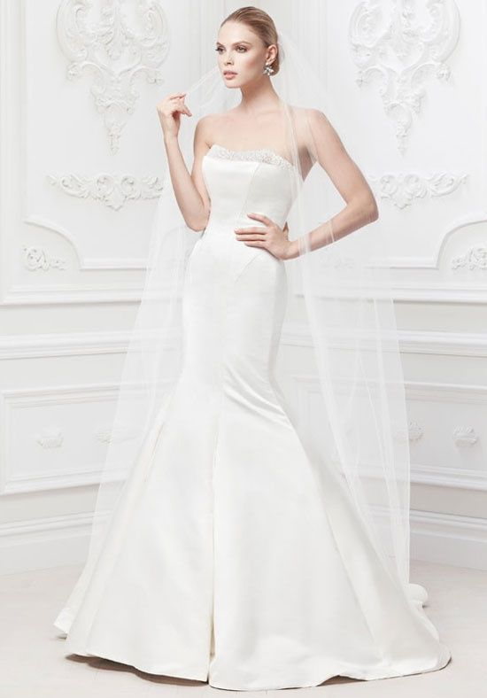 Satin Fit And Flare Wedding Gown With Pearl Detail Zac Posen