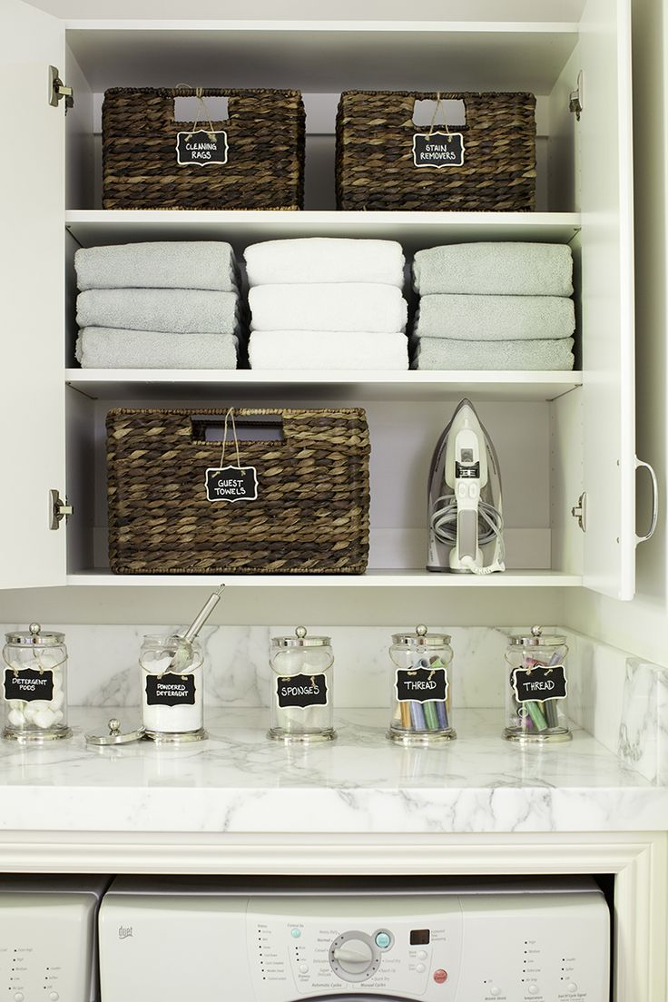 Tips for organizing a laundry room. By pottery barn. (Ya have to love pottery barn!)