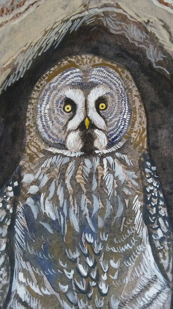 New original watercolor painting by poofydove for sale! Check out this item in my Etsy shop https://www.etsy.com/listing/270390501/owl-watercolor-painting-great-gray-owl