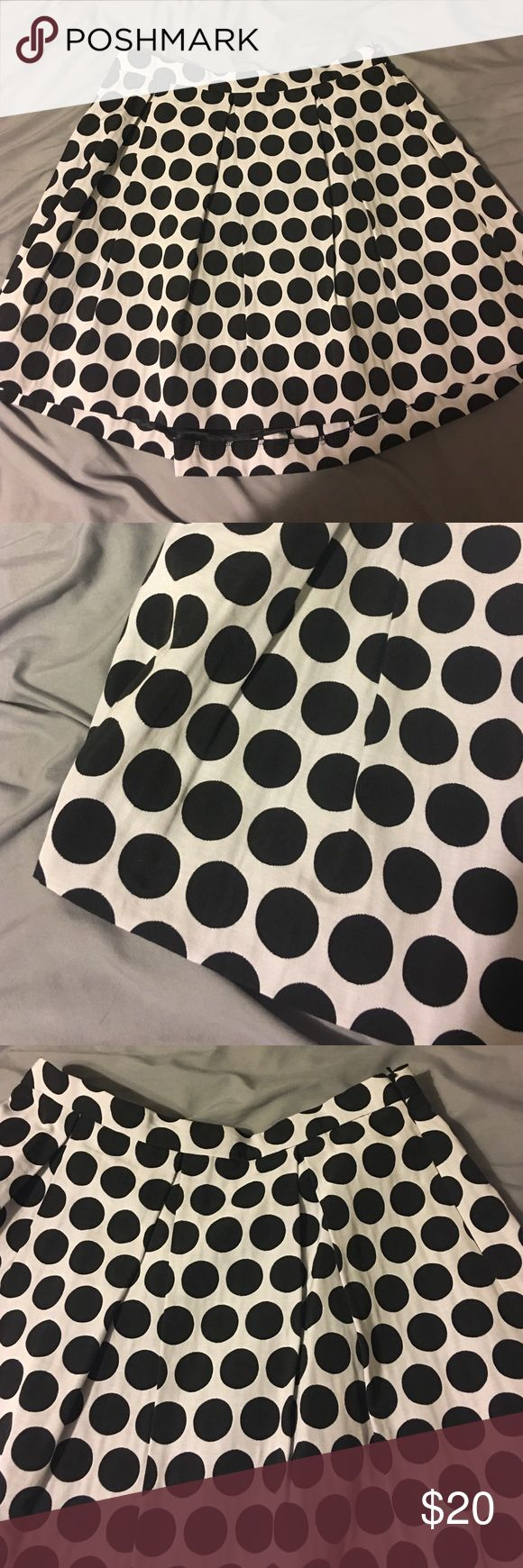 Like New French Connection skirt Black and white polka dot skirt - size 10- side zipped. French connection French Connection Skirts Midi
