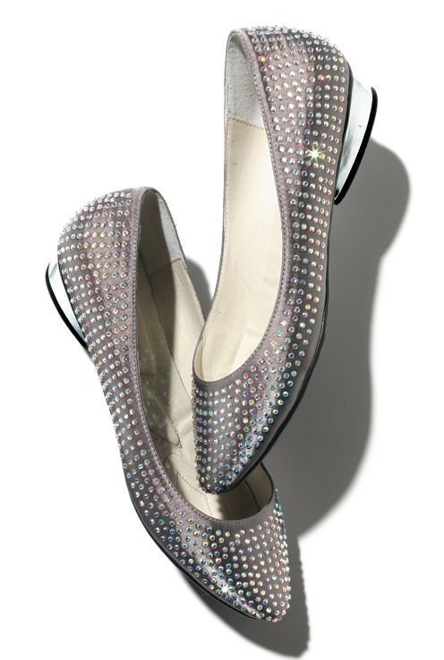 SPONSORED: Covered in iridescent rhinestones, these almond-toe pewter satin flats open up a rainbow of possibilities, outfitwise! GLAM AND GO FLAT SHOES available @ www.meetmark.com/