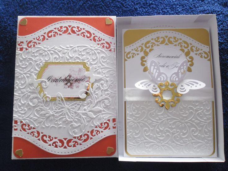 Svatební gratulace s krabičkou,embos.kapsy a raznice PP