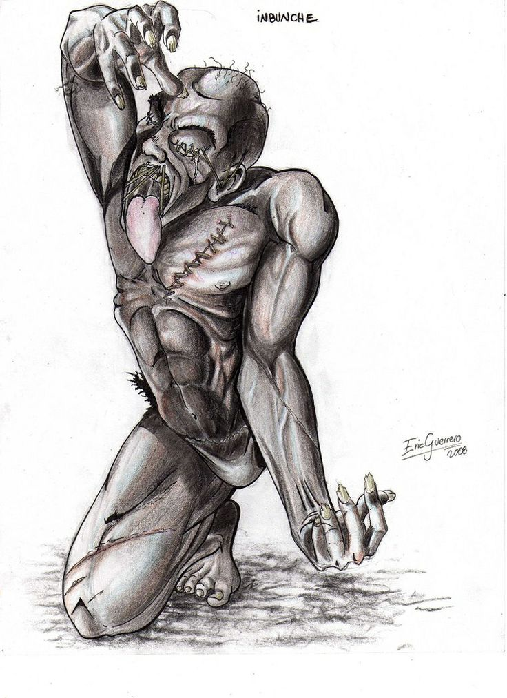 Invunche- Chilean myth: a man with twisted and deformed features and limbs. His left leg is twisted backward over his back and attached by the heel to his neck. He walks using his three usable limbs. He was the first born to a family and sold to a warlock when he was 9 days old. The warlock them turned him into a monster/minion.