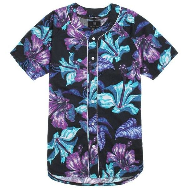 On The Byas Luau Baseball Jersey featuring polyvore, fashion, clothing, tops, shirts, jersey, button-ups, baseball button up shirts, short sleeve tops, button down shirts, floral button up shirt and short sleeve button up shirts