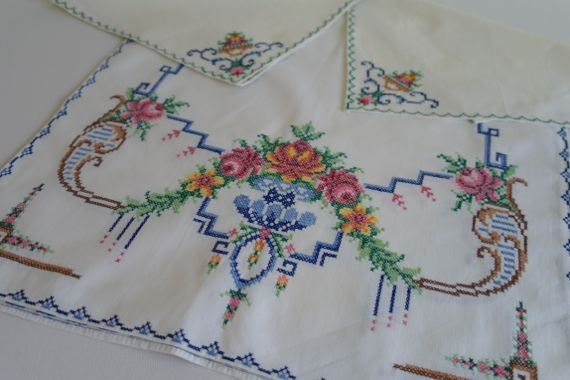 Stunning Vintage Roses Cross Stitch Table by alltheseprettythings, £25.00