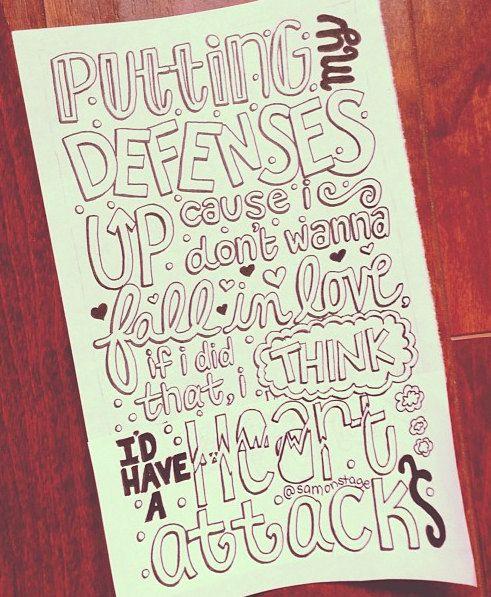 Heart Attack Lyric Art (Demi Lovato). $5.00, via Etsy.