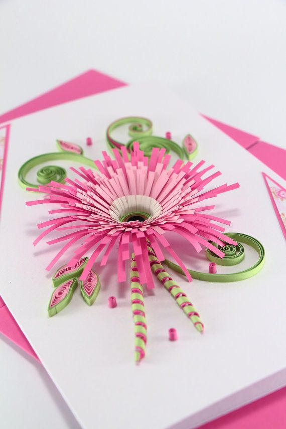 "Birthday Card for Girlfriend - Beautiful Handmade Quilling Card - Pink Gerbera - Paper Flower Design - 5""x8"""