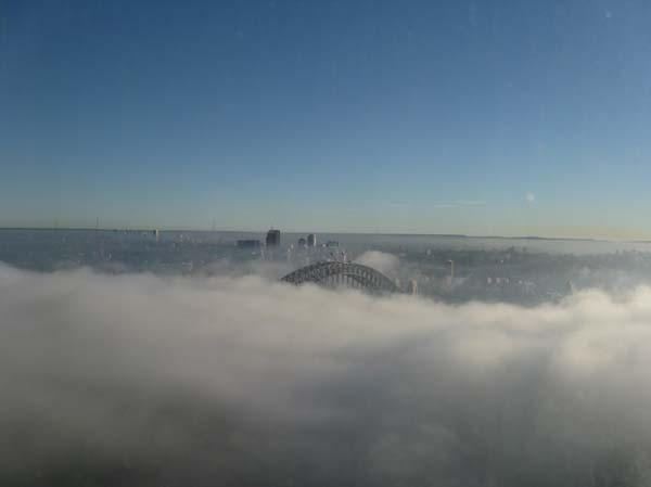 The blanket of fog over the Harbour Bridge.