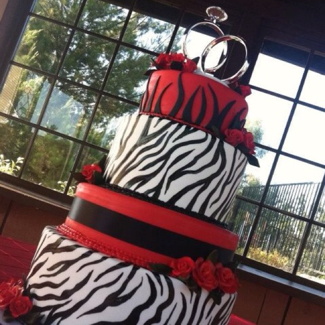 Dramatic Red And Black Wedding Cake From Http://www.bakerysweets.com