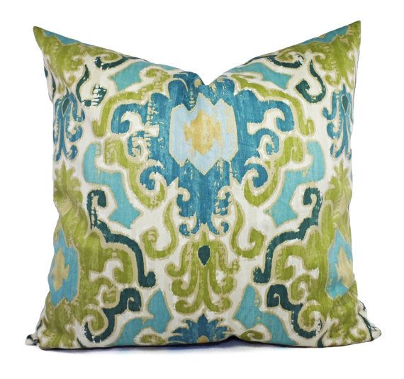 Two Pillow Covers 16x16 in a Blue and Green Ikat Print! This listing is for two pillow covers in a stunning blue, green and beige ikat print. These