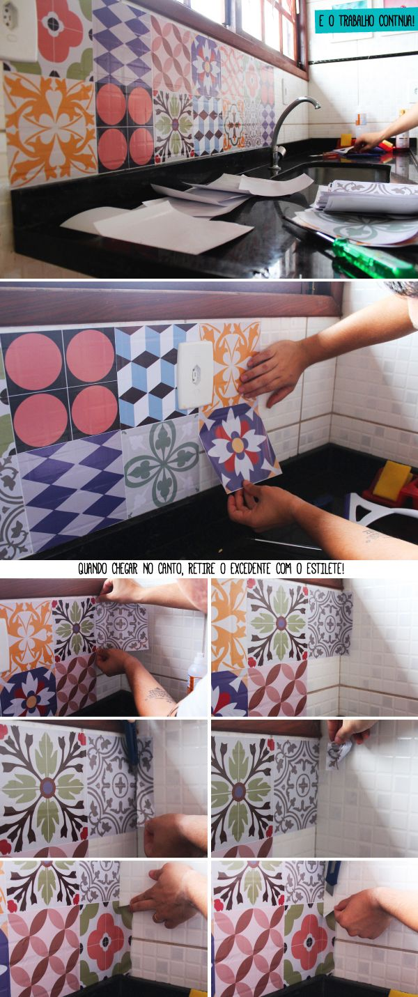 Translated: cut pieces of pattern contact to tile size and apply over existing tiles to give an update look quickly and easily.