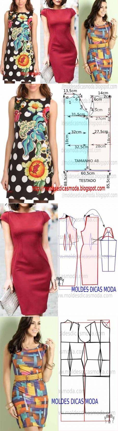 Tres patrón sencillo para los vestidos de verano