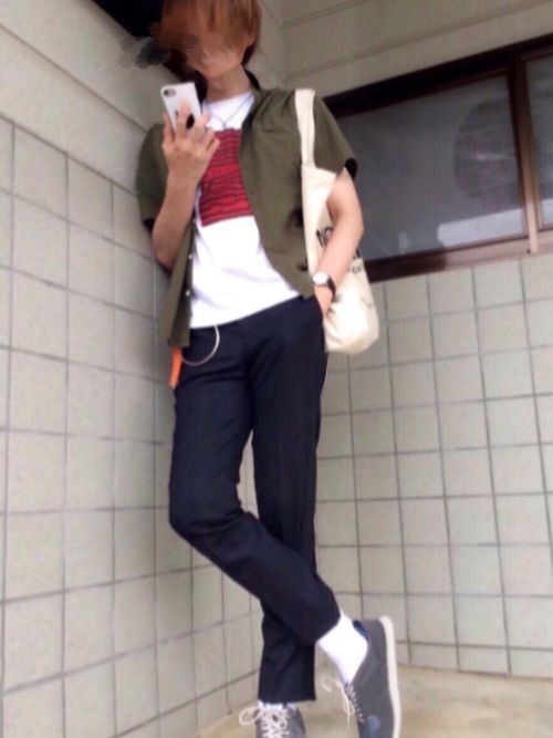 simple is best🤞 Yシャツ×ロゴT×スェット×スニーカー コーデ詳細 アウター/RA