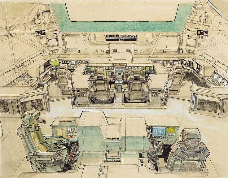 Original Ron Cobb concept art of Nostromo's bridge, from Alien