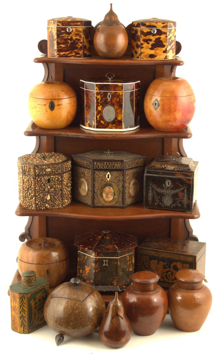 Antique Tea Caddies Collection. Wood, Carved Wood, Tortoise Shell, Shell, etc... England. Circa 1750-1850