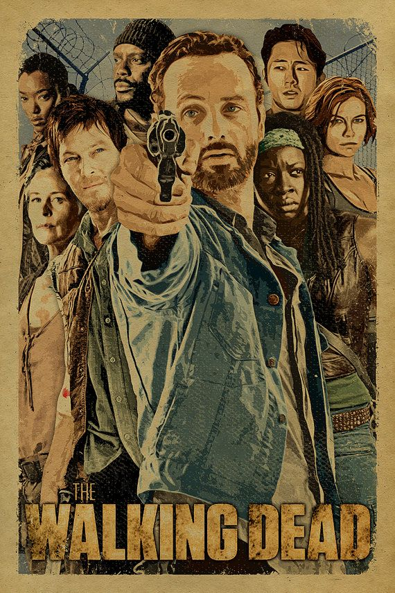 The Walking Dead cast poster with Rick, Daryl, Michonne, Glenn, Maggie, Carol, Tyresse and Sasha.12x18. Kraft paper. TV. Art. Print
