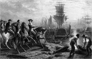"""Lord Howe Evacuating Boston"" engraving by J. Godfrey circa 1861. #americanrevolution"