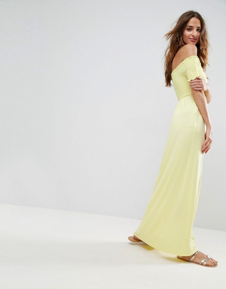 ASOS Off Shoulder Maxi Sundress with Shirring - Yellow