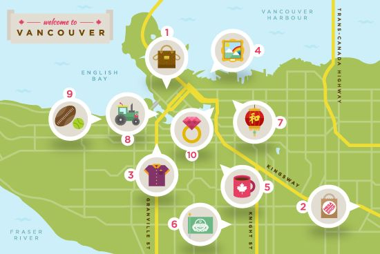Map courtesy of Virgin AtlanticThis post is an updated version of an article originally written by Dana Lynch. Vancouver offers some of the best shoppin...
