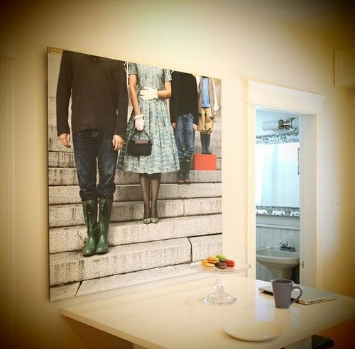 I love this idea! Both family pics photography and having a big canvas on the wall.