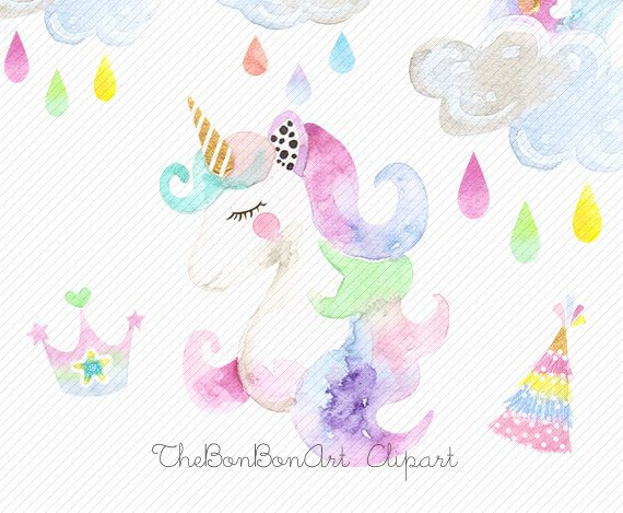 watercolor Unicorn Clipart. Unicorn Printable. Baby Shower