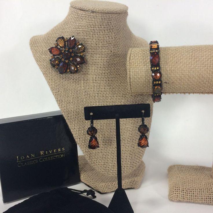 Joan Rivers Classic Collection Brooch Bracelet Earrings Set Rootbeer Crystal HTF #JoanRivers