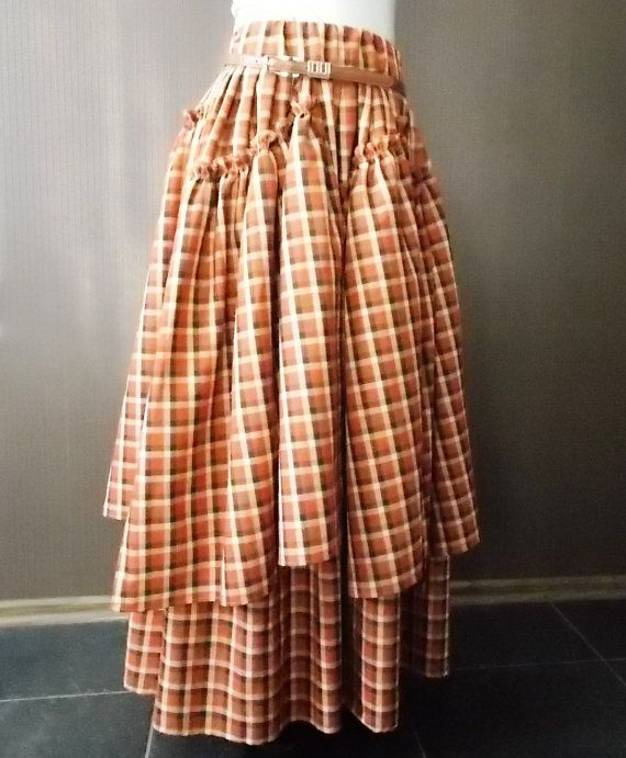 Maxi skirt.Pleated Skirt.Orange plaid.Boho skirt. by BohoEklektika