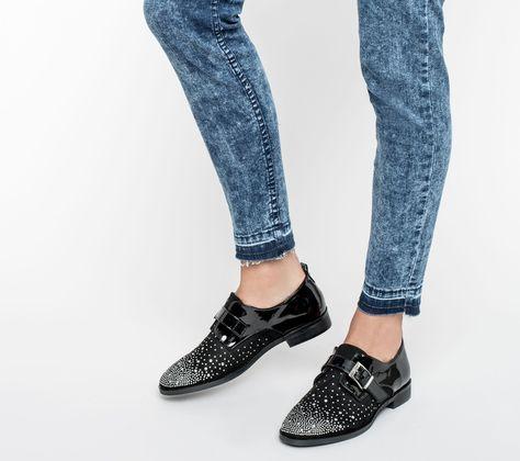 Derby noir à clous argent - Derbies - Chaussures femme