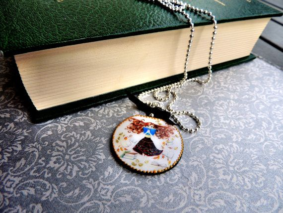 Book pendant, long necklace for book lovers, reading girl, gift for her, nerd necklace, nerd pendant, teacher gift, librarian gift