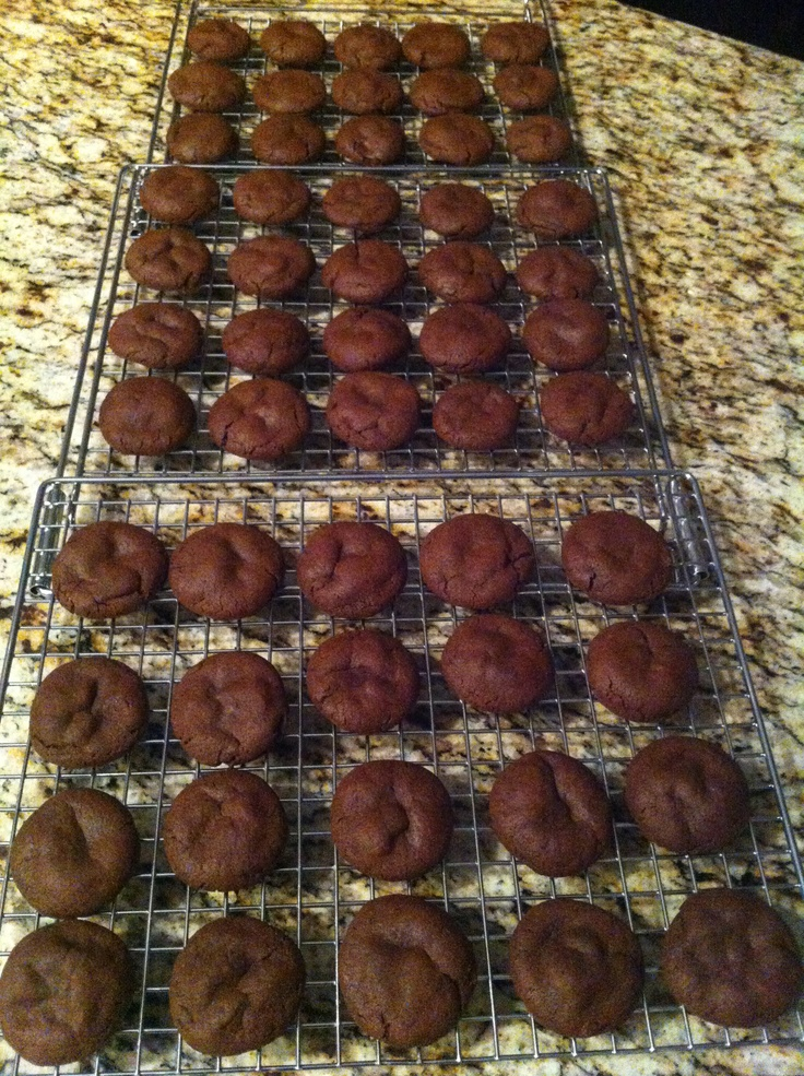 Rolo cookies... There's a melted gooey Rolo inside each one...