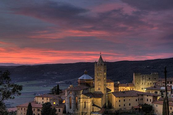 Massa Marittima - my home town - at night, Maremma Tuscany Italy