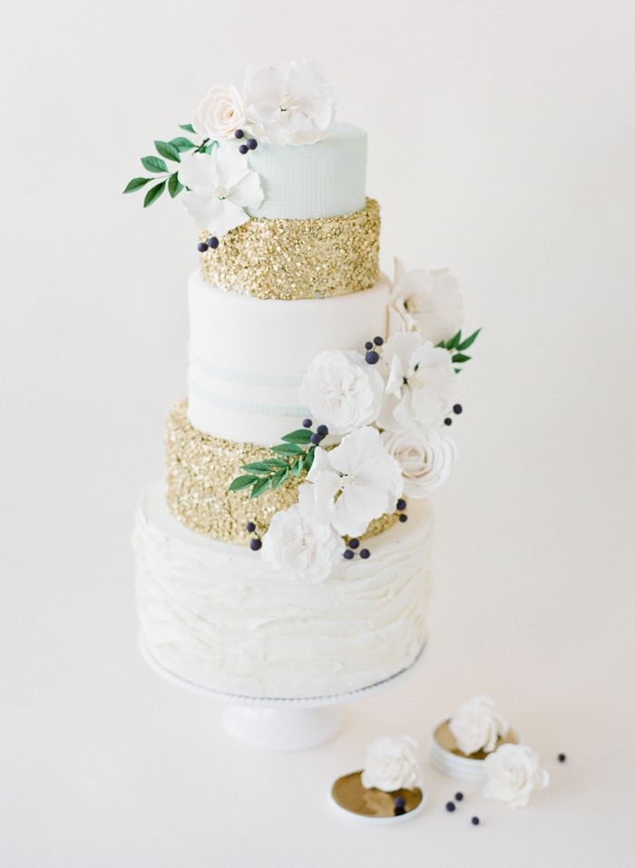 simple wedding cake with a hint of glittery glam! Jenna Rae Cakes