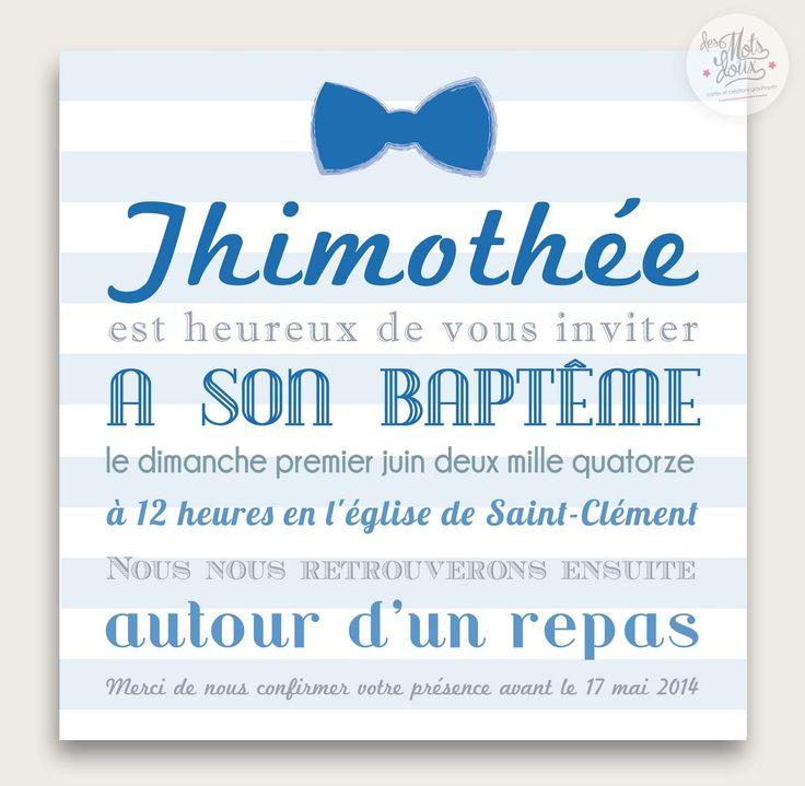 Faire-part original de baptême marin Noeud papillon pour garçon : Faire-part par des-mots-doux