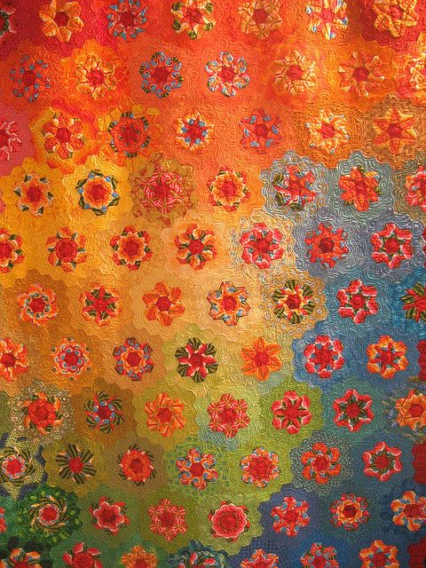 Exquisite colour and quilting - great proof that One Block Wonders don't have to be ugly.