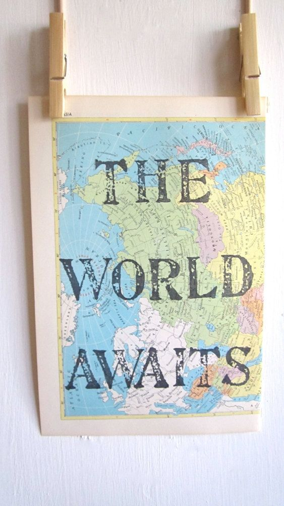 The World Awaits, Print, Map Art, Handmade, Map of Asia, World Travel Nursery, Adventure Print, Travel Theme, Welcome To the World, Map
