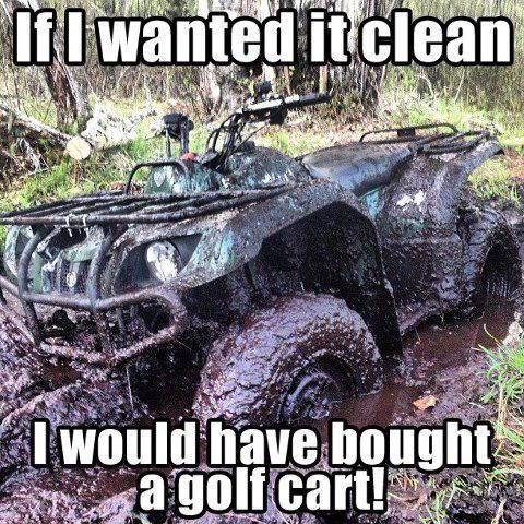 Hahahaha...had to crack on my uncles atv it was red and shiny....I don't remember what color ours is lol