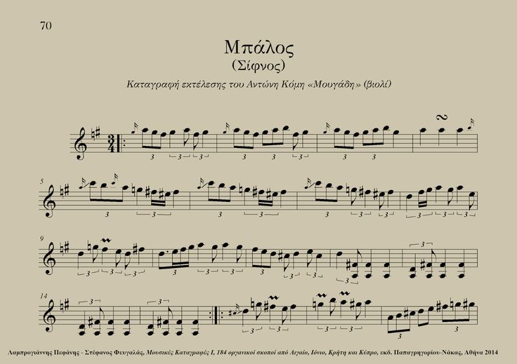 "Mpalos (Sifnos, Greece) - Antonis Komis ""Mougadis"" (violin) Excerpt from: Lamprogiannis Pefanis - Stefanos Fevgalas, Musical Transcriptions I - 184 instrumental tunes from the Aegean and Ionian Seas, Crete and Cyprus, ed. Papagrigoriou-Nakas, Athens 2014"