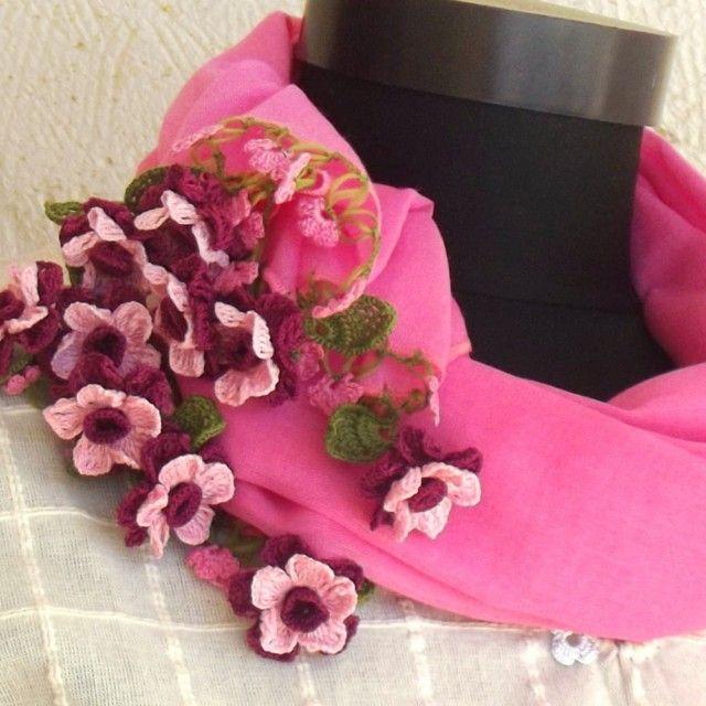 立体レース 花のコットンストール  ピンク - DAISY