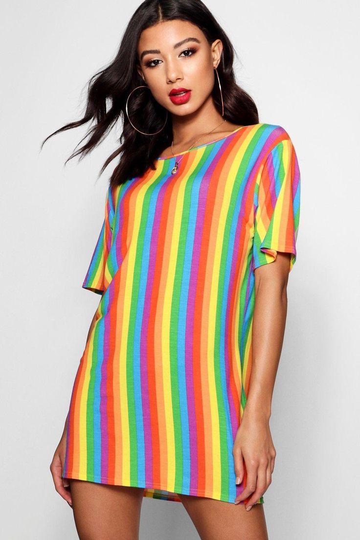 19+ Boohoo rainbow stripe t shirt dress inspirations