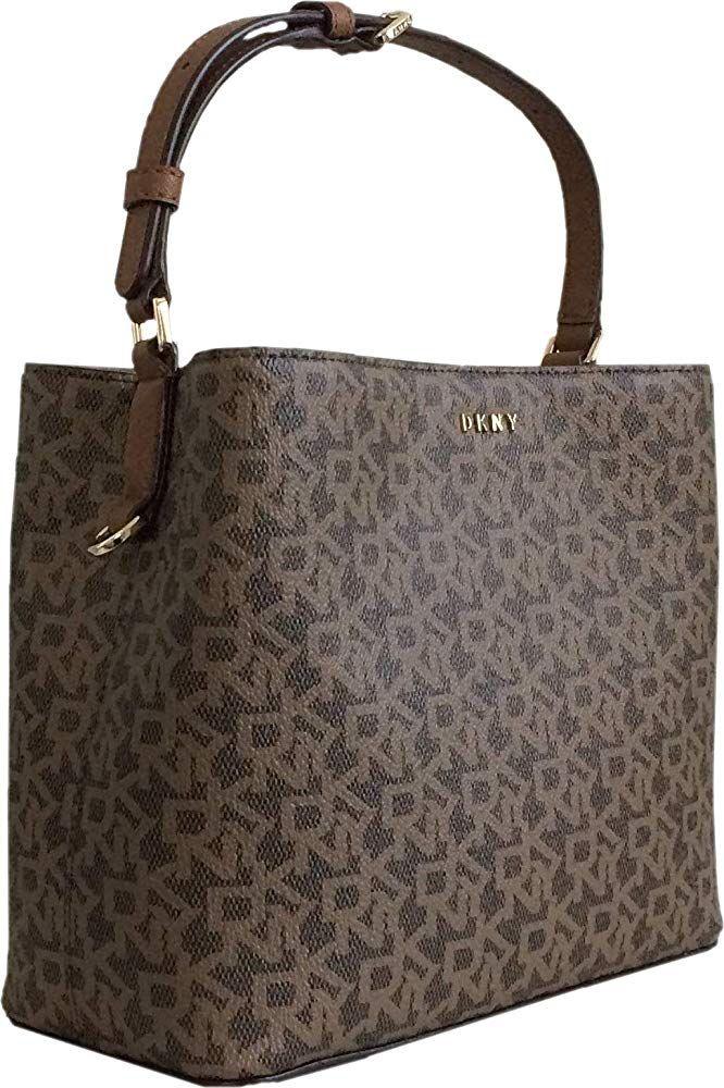 Dkny Mini Pvc Coated Logo Handbag Crossbody Strap S Brown