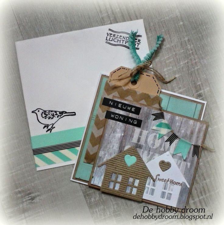 DE hOBBy DROOm: Nieuwe woning - Kaart met huisjes. Ook de bijpassende envelop is mooi versierd.