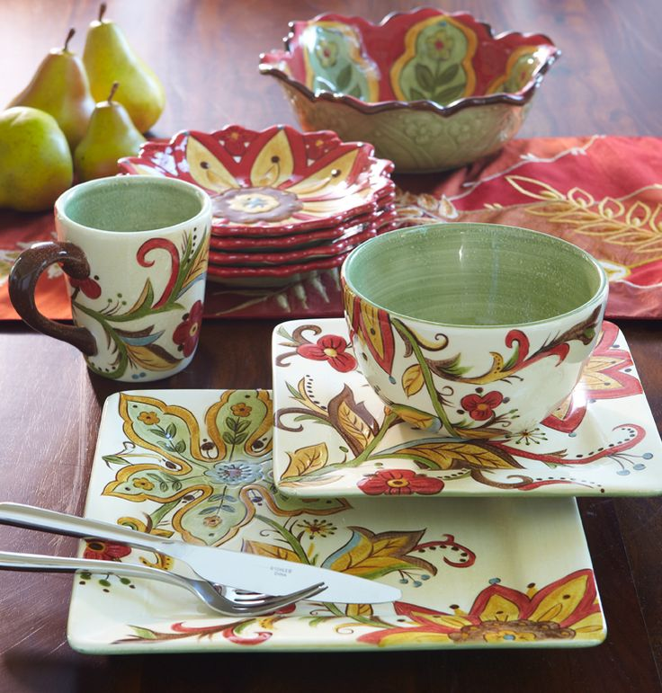 Pier 1 Carynthum Dinnerware and Serveware perk up the table with colorful blooms & 25 best Dishes images on Pinterest | Dinnerware Dish sets and ...