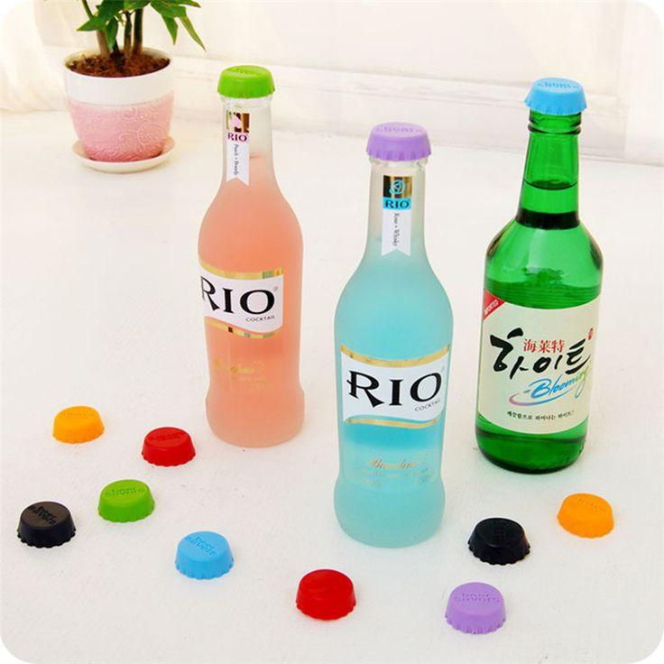 6 pcs/lots warna-warni silikon anggur stopper, Menjaga bir anggur segar botol anggur stopper, Sampanye stopper, Topi atas penutup tutup alat Bar
