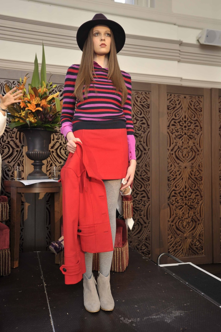 Trend: Bright and bold  Model wears #MARCS look and #Sportscraft fedora & tights.   #qvb #bright #ninewest #red #plum #fashion