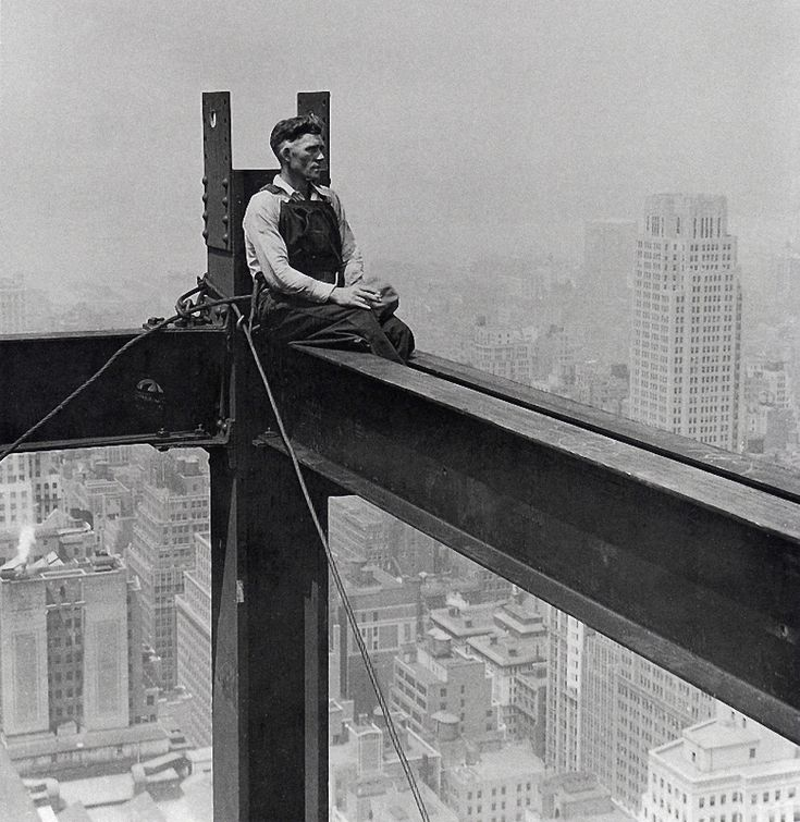 pinterest.com/fra411 #builders - NYC. Skyscraper building worker, 1932.  (Little bit marginalized?) // by Charles Clyde Ebbets