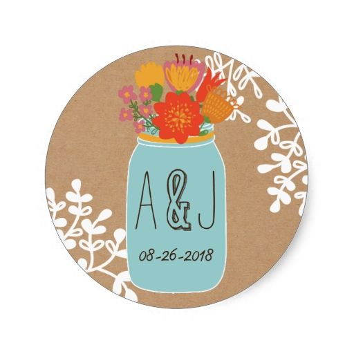 Rustic Mason Jar with Flowers Craft Paper Monogram Classic Round Sticker
