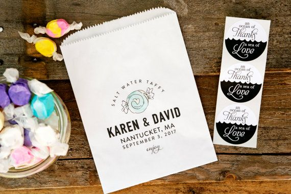Salt Water Taffy Wedding Favors - Beach Wedding Favor Bag - Candy Bag - White Wax Lined Bags - 20 Bags per Pack